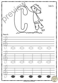 Blues Piano Lessons A set of 26 music worksheets is created to help your students learn to trace, copy, color and draw notes on the staff {Treble pitch}. {C first – A second octaves} Learning Music Notes, Music Education, Music Lessons For Kids, Music For Kids, Music Theory Worksheets, Grammar Worksheets, Violin Lessons, Piano Teaching, Learning Piano