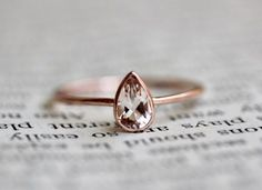 14K Pear Morganite Ring Solitaire Ring Dainty Engagement