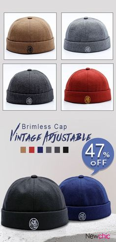 6b9523cec449b Men Vintage Brimless Cap Adjustable Embroidery Skull Cap Warm Rolled Cap  Without Brim  cap
