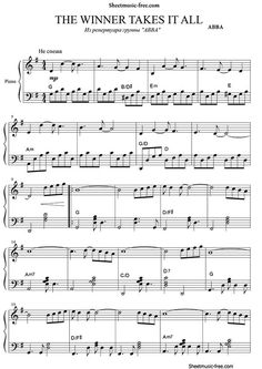 The Winner Takes It All Sheet Music ABBA Sheet Music Free pdf download