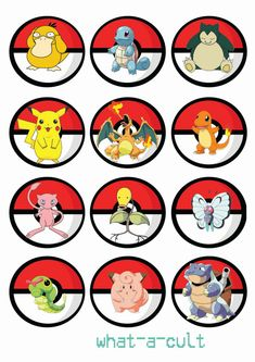 36 printable cake toppers on a4 digital jpeg files 300dpi  simply print at home or take to your local print shop add a cocktail stick for lots of poke-fun! or lay on top of some lovely birthday cupcakes  12 x pokemon set 1 12 x pokemon set 2 12 x pokeballs  perfect for printing back to back,  idea- print one pokemon and one pokeball, stick back to back, face pokeball towards the children/adults- now its a game of which pokemon will i get!!! big and strong or small and cute!  this is a…