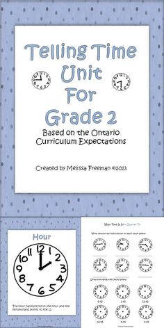 A unit based on the Ontario Curriculum expectations for Grade 2.  This 40 page package contains: lesson Ideas, time posters, worksheets, a quiz and a game!