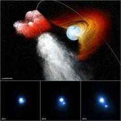 Agujero perforado en el disco estelar lanzó un grupo cósmica en ~ 4.000.000 mph, como se ve por nuestro Observatorio de Rayos X Chandra. Detalles: http://go.nasa.gov/1JfGOWN # NASABeyond