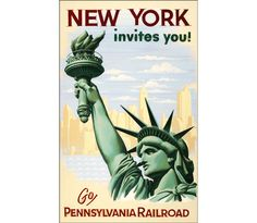 New York Invites You - Go Pennsylvania Railroad Vintage Poster Retro Art Print Train Travel Advertisement Free US Post Low Euro Post by VintagePosterPrints on Etsy