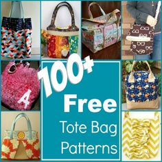 100 Free Tote Bag Patterns Rounded Up in one place. The Sewing Loft Sewing Tutorials, Sewing Hacks, Sewing Crafts, Sewing Projects, Bag Tutorials, Diy Crafts, Purse Patterns, Sewing Patterns, Quilting Patterns