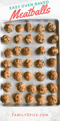 Meatballs can be a lot of work to make, but these oven baked meatballs make this family friendly dinner get to the table faster ! Good Healthy Recipes, Easy Dinner Recipes, Fall Recipes, Yummy Recipes, Garlic Pork Tenderloin Recipe, Pork Chops, Oven Baked Meatballs, Chicken Meatballs, Meatball Bake