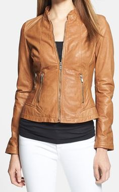 #leather jacket in brown sugar http://rstyle.me/n/gc3wdpdpe