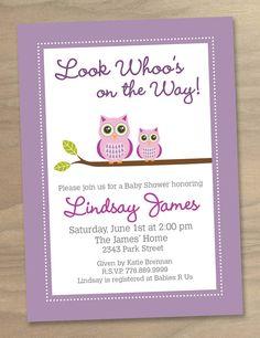 Baby Shower Invitation  Pink Purple Baby Girl by DesignAndLife