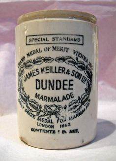 Keiller's Marmalade, named after its creator Janet Keiller, produced in Dundee, Scotland. The first commercial brand of marmalade along with the world's first marmalade plant founded in 1797. In 1880 the company opened a factory in London. By the late 19th century the marmalade was shipping as far afield as Australia, New Zealand, South Africa, India & China.   The firm was acquired by Crosse & Blackwell in 1920, subsequently sold  multiple times before ending up with Robertson's. Healthy Eating Tips, Healthy Nutrition, Seville Orange Marmalade, English Food, Vegetable Drinks, Dundee, Baking Ingredients, Cookie Dough, Crock