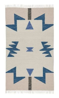 Ferm Living Shop — Kelim Blue Triangles Rug (Small)