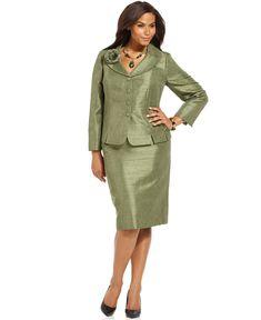 Kasper Plus Size Tweed Jacket & Skirt - Plus Size Suits ...