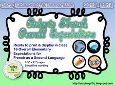 $ Display the overall expectations for French in your classroom, based on Ontario's 2013 curriculum release. Works for Core French, Immersion or Extended French classes, and includes graphics to differentiate the reading, writing, listening and speaking strands throughout each year.
