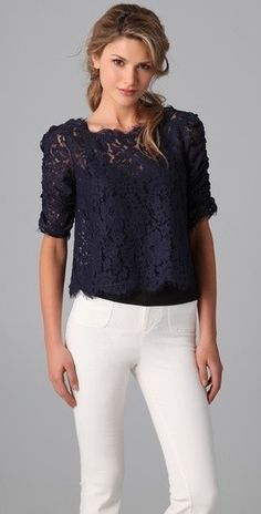 Pretty lace top with white jeans