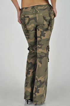Army Camo Cargo Pocket Ladies Fashion Jeans