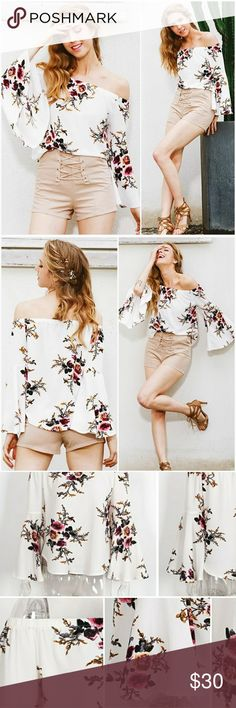• FLASH SALE •Floral Off the Shldr Bell Sleeve Top Beautiful floral print off the shoulder top with loose bell sleeves.  S - 4/6 M - 8/10 L - 12 Model wearing size small.  SM1RTOWJ32817 AJ's Threads  Tops Blouses