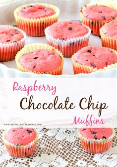 Raspberry chocolate chip muffins are bound to get your family hooked on muffins! Secret, fun ingredient in this recipe that's probably in your pantry! #muffins #breakfast #chocolate