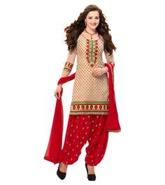 Heavenly Beige and Red Patiyala Suit