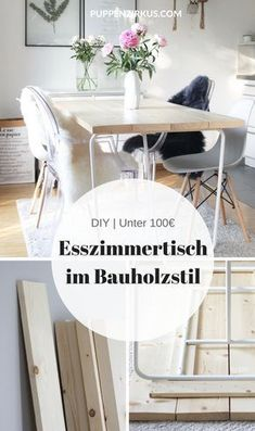 DIY: make the dining room table yourself- DIY: Esszimmertisch selber machen DIY Instructions: the perfect wooden dining table for under 100 € Wooden Dining Tables, Dining Room Table, Dining Rooms, Kitchen Tables, Wood Table, Wood Furniture, Furniture Design, Repurposed Furniture, Furniture Stores