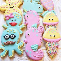 Under the Sea Octopus, Whale, Starfish, Jelly Fish & Seahorse Cookies Cut Out Cookies, Brownie Cookies, Cookie Bars, Sugar Cookies, Mermaid Cookies, Animal Cutouts, Princess Cookies, Iced Biscuits, Birthday Cookies