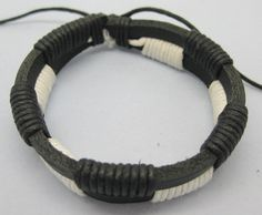 Shoply.com -Fashion bracelet made by leather and rope  Cuff leather bracelet-White. Only $2.99