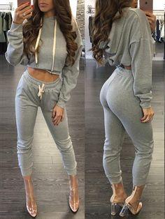 Trendy Fashion Casual Hoodie Cropped Sweatshirt Set
