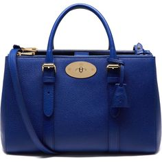 Mulberry Small Bayswater Double Zip Tote found on Polyvore featuring bags, handbags, tote bags, neon blue, blue handbags, genuine leather handbags, mulberry tote, leather handbags and mini tote