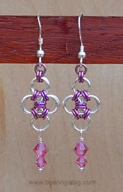 Handcrafted chain-mail earrings