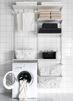 A laundry room storage solution made with ALGOT - IKEA Ikea Laundry Room, Laundry Room Shelves, Ikea Closet, Laundry Room Cabinets, Laundry Closet, Laundry Room Organization, Laundry Storage, Laundry In Bathroom, Laundry Area