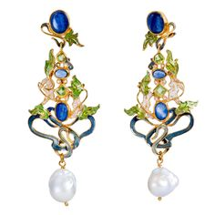 Percossi Papi Sapphire Peridot Pearl Enamel Drop Vermeil Earrings | From a unique collection of vintage drop earrings at https://www.1stdibs.com/jewelry/earrings/drop-earrings/