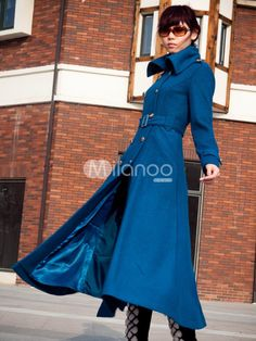 Fashion Sky Blue Wool Double Breasted Long Trench Coat For Women - Milanoo.com