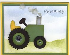 Here's a punch art tractor made from Stampin' Up punches. I used the word window for the smoke stack, large tag for the body, scallop circle for the back wheel, heart for the seat, slit for the steering column and...