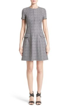 Main Image - Michael Kors Houndstooth Wool Jacquard A-Line Dress f05d14612ed