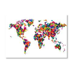 Love & Hearts World Map gallery-wrapped canvas by Michael Tompsett $38 https://www.thefoundary.com/invite/pinkrosepixie