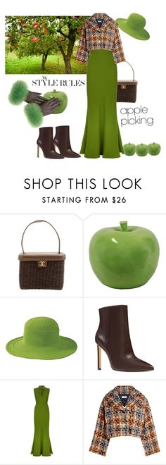 """Let's pick some apples"" by ellenfischerbeauty ❤ liked on Polyvore featuring Chanel, Urban Trends Collection, San Diego Hat Co., Nine West, Alexander McQueen and Sonia Rykiel"