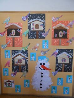 p New Year's Crafts, Bird Crafts, Animal Crafts, Arts And Crafts, Winter Crafts For Toddlers, Toddler Crafts, Crafts For Kids, Feeding Birds In Winter, Christmas Bulletin Boards