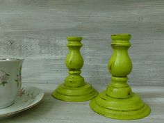 Chartreuse Painted Wood Candlesticks by BeckiBees on Etsy, $16.00