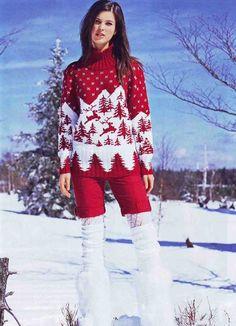 вязание пуловер с оленями