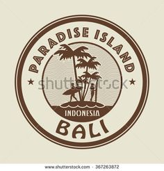 Stamp with the palm, island and words Paradise Island, Bali, written inside, vector illustration