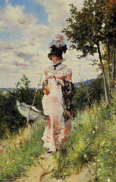 woman hat boldini   The Summer Stroll