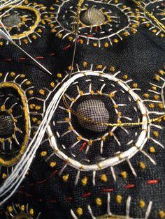 Amy Meissner, work in progress. Silk mesh, embroidery, found objects, 2014. www.amymeissner.com