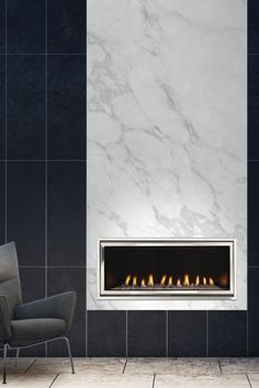 The sleek lines of a Cosmo modern gas fireplace hold together the tiled pattern and marble of this contemporary office space. Indoor Gas Fireplace, Linear Fireplace, Fireplace Inserts, Modern Fireplace, Brick Fireplace, Contemporary Fireplaces, Wood Mantels, Dramatic Lighting