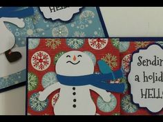 CHRISTMAS IN JULY ~ PULL-OUT CARD ~ CHALLENGE ONE - YouTube  Uses Snow Friends, George and Elegant Edges cartridges