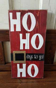 Christmas Countdown Sign-Wood Sign-Chalkboard-hohoho- Santa Sign-Glitter-Re . - Jim Mead - Christmas Countdown Sign-Wood Sign-Chalkboard-Hohoho- Santa Sign-Glitter-Re … - Christmas Countdown, Merry Christmas Sign Diy, Pallet Wood Christmas, Wooden Christmas Crafts, Christmas Chalkboard, Christmas Art, Holiday Crafts, Diy Wooden Crafts, Santa Countdown