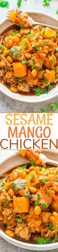 Sesame Mango Chicken - An EASY Asian-inspired recipe with tender sesame chicken, juicy mango, and soy-garlic-ginger infused cabbage and carrots!! One skillet, ready in 15 minutes, and perfect for busy weeknights!!