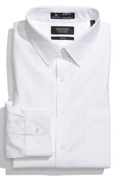 Nordstrom Smartcare™ Wrinkle Free Trim Fit Solid Pinpoint Dress Shirt available at #Nordstrom