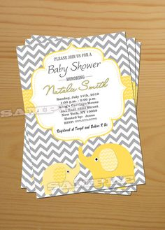 Elephant Baby Shower Invitation Gender Neutral Baby Shower Invitation Baby Shower Invites Yellow Printable - FREE Thank You card Printable on Etsy, $13.00