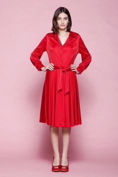 13742026d54 shirtwaist dress belted red slinky soft poly knit long sleeves vintage 70s  LARGE L Vintage Clothing