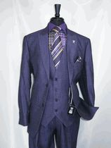 "Stacy Adams 5732-019 Skyv ""Purple -019"" Vested Men's 2 button Suit ""Texture Heather Fabric"" with Peak Lapels, 2 flap Pockets and double vented back. The matching Vest has 2 besom pockets perfect for your watch pocket and complete with the Banker Strap on the back. The matching 4 pocket ""Flat Front Pants"" are lined to the knee for comfort and style. The newest release for 2016 is Here Now @ BerganBrothersSuits.com."