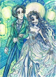 Victor & Emily Tim Burton's Corpse Bride On this I used only 3 colored pencils: blue, green, and yellow. Cheers To The Newlyweds Victor Corpse Bride, Corpse Bride Art, Tim Burton Corpse Bride, Tim Burton Kunst, Tim Burton Art, Tim Burton Films, Desenhos Tim Burton, Nightmare Before Christmas Drawings, Tim Burton Characters