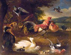 Melchior de Hondecoeter (1636- 1695). Куры и утки.1651-1695 Маурицхейс Королевская картинная галерея , Гаага